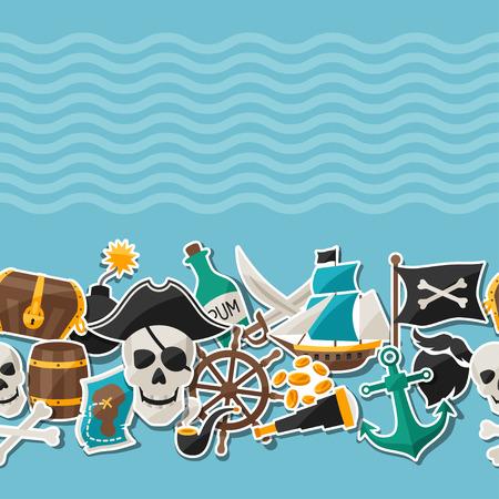 carte tr�sor: Seamless sur le th�me des pirates avec des autocollants et des objets