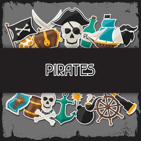 pirata: Antecedentes sobre el tema pirata con pegatinas y objetos