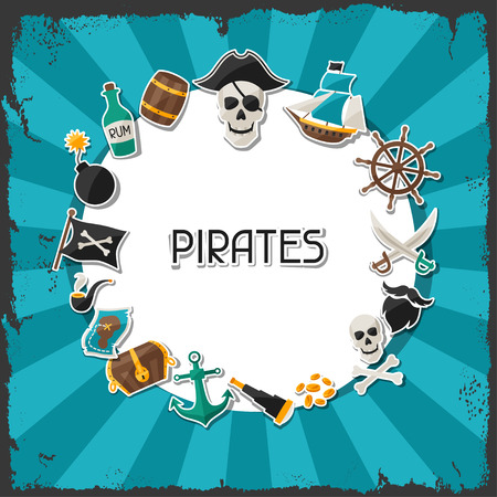 Background on pirate theme with stickers and objects Vector