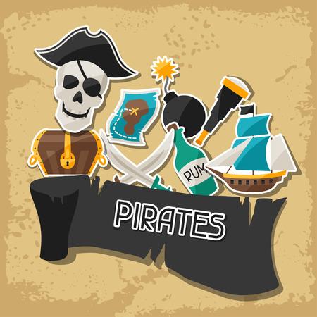 carte tr�sor: Renseignements g�n�raux sur le th�me des pirates avec des autocollants et des objets