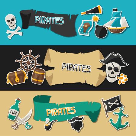 mapa del tesoro: Banners en tema del pirata con pegatinas y objetos Vectores