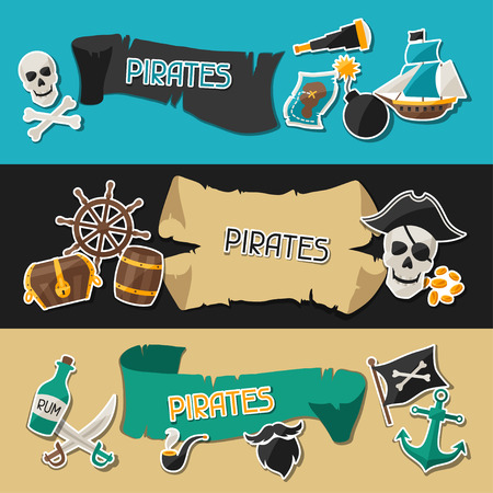 Banners on pirate theme with stickers and objects Illustration