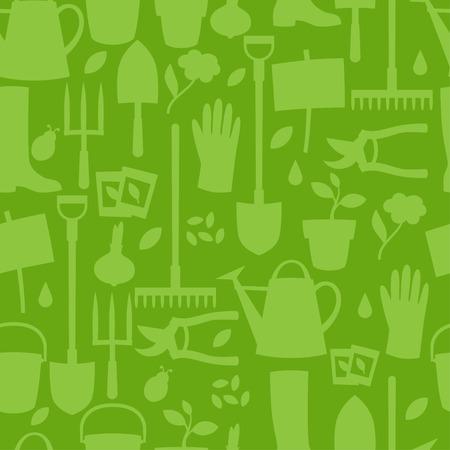 tuinontwerp: Achtergrond met tuin design elementen en pictogrammen