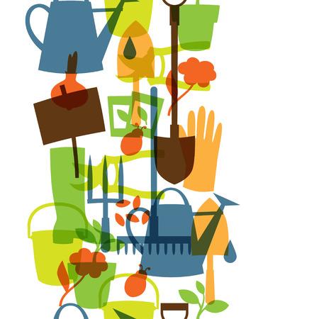 tuinontwerp: Background with garden design elements and icons Stock Illustratie