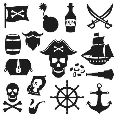 isla del tesoro: Conjunto de objetos y elementos en tema del pirata Vectores