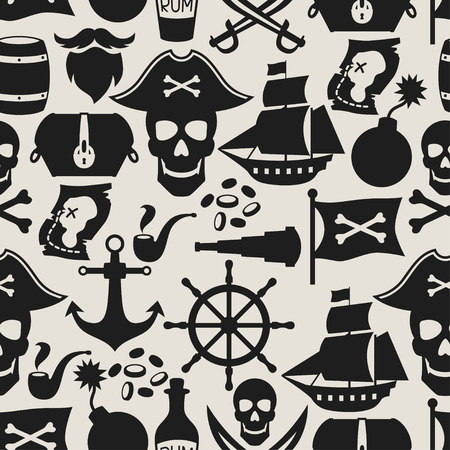 caribbean party: Seamless pattern on pirate theme with objects and elements