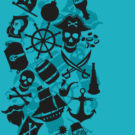 jolly roger pirate flag: Seamless pattern on pirate theme with objects and elements