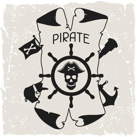 caribbean party: Antecedentes sobre el tema pirata con objetos y elementos Vectores