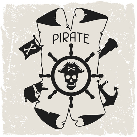 Background on pirate theme with objects and elements Vector