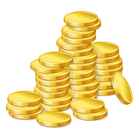 stack of coins: Stacks of gold coins on white background