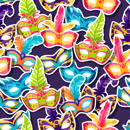 festive pattern: Celebration festive pattern with carnival masks stickers