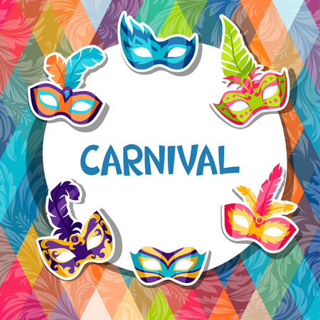 Celebration festive background with carnival masks stickers Ilustração