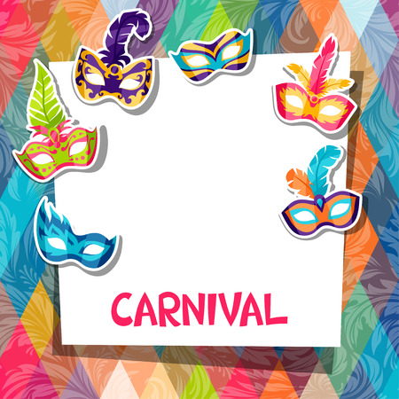 Celebration festive background with carnival masks stickers Illustration