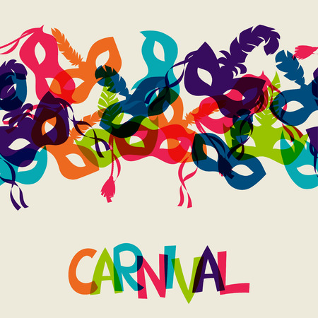 Celebration festive background design with carnival masks Ilustração