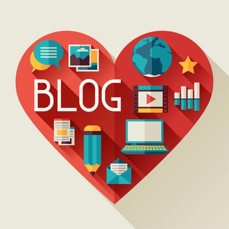 ブログのアイコンとメディア ・ コミュニケーションの概念図  イラスト・ベクター素材