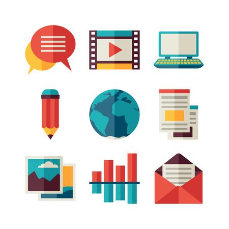 BLOG: Media and communication set of blog icons