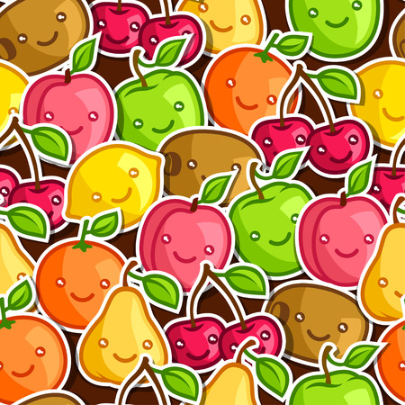 kawaii: Seamless pattern with cute kawaii smiling fruits stickers