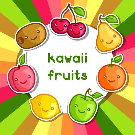 alimentacion sana: Fondo con kawaii lindo sonriente frutas pegatinas Vectores