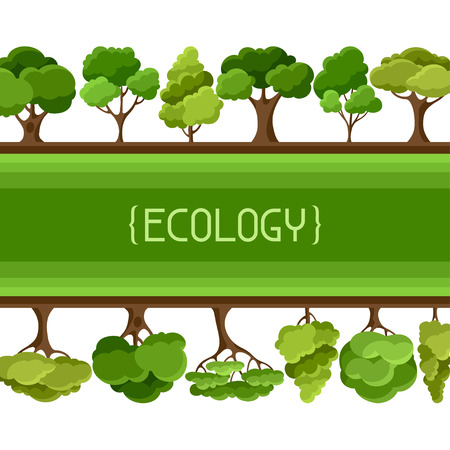 Ecology background design with abstract stylized trees Vektorové ilustrace