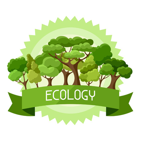 Ecology background design with abstract stylized trees Ilustrace