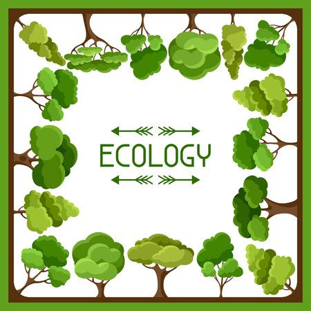 ecology background: Ecology background design with abstract stylized trees Illustration