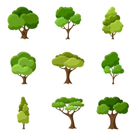 albero della vita: Set di astratti alberi stilizzati Vettoriali
