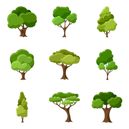 forest trees: Set of abstract stylized trees