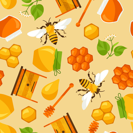 Seamless Pattern With Honey And Bee Objects Royalty Free Cliparts Unique Bee Pattern