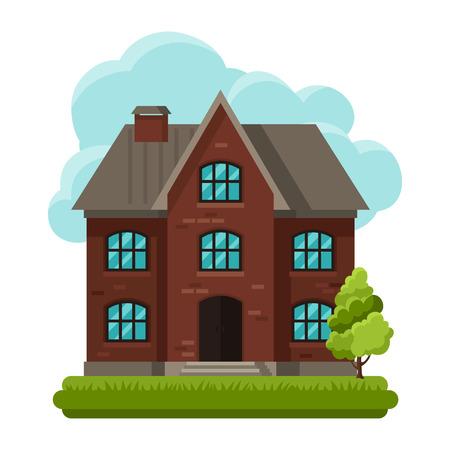 frontage: Illustration of old brick cottage on clouds background Illustration