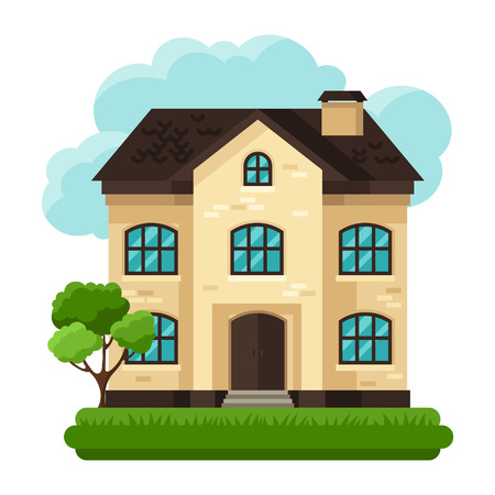 Illustration of old brick cottage on clouds background Ilustrace