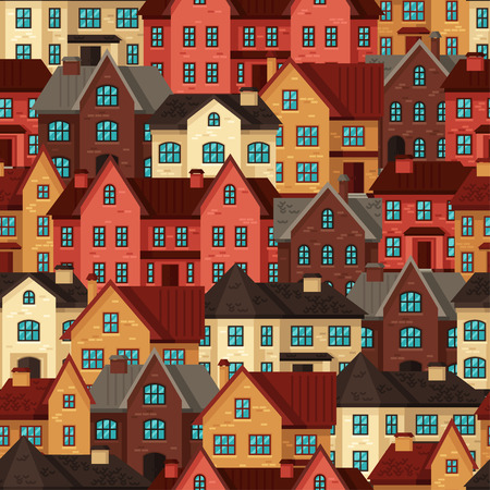 frontage: Town seamless pattern with cottages and houses