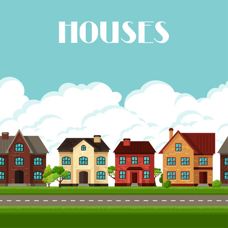 frontage: Town seamless border with cottages and houses