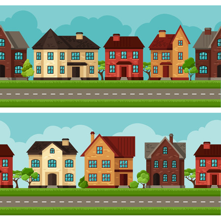 frontage: Town seamless borders with cottages and houses