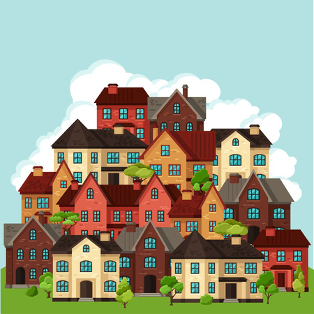 frontage: Town background design with cottages and houses