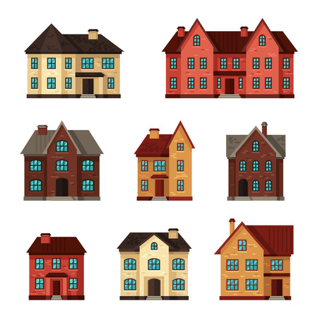 frontage: Town icon set of cottages and houses