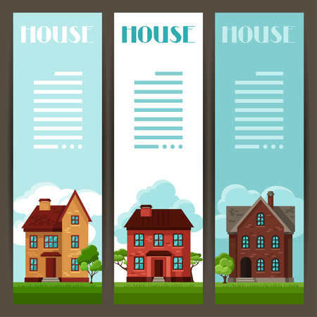 frontage: Town vertical banners design with cottages and houses Illustration