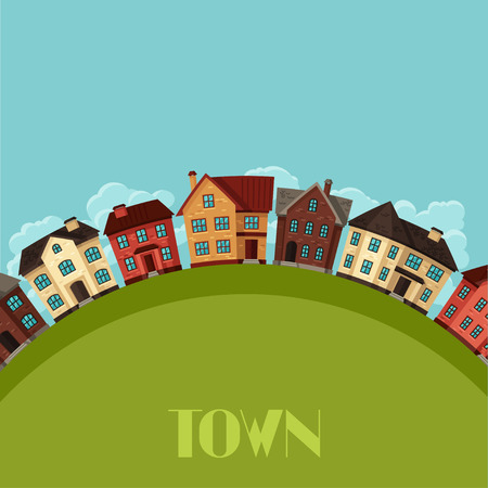 cottages: Town background design with cottages and houses