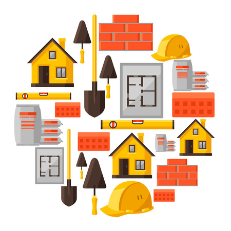 housing: Industrial background design with housing construction objects