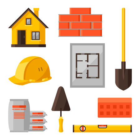 industrial icon: Industrial icon set of housing construction objects