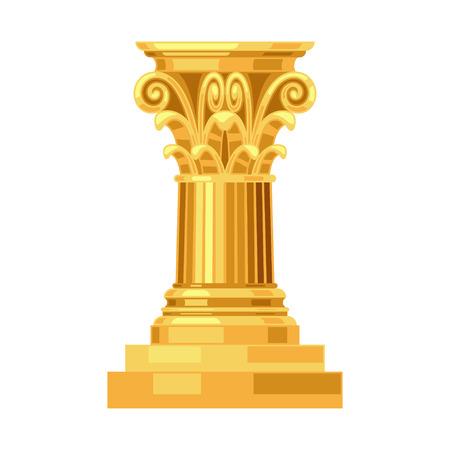 columna corintia: Aislado columna griega oro antiguo realista de Corinto Vectores