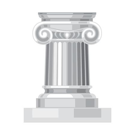 Geïsoleerd Ionic realistische antieke Griekse marmeren kolom