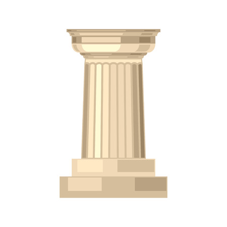 Doric realistic antique greek marble column isolated