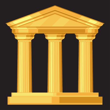 多利安逼真的仿古希臘神廟的柱子 向量圖像