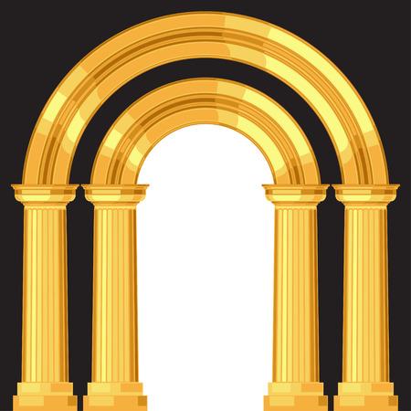 arte greca: Dorico realistico antico arco greco con colonne Vettoriali