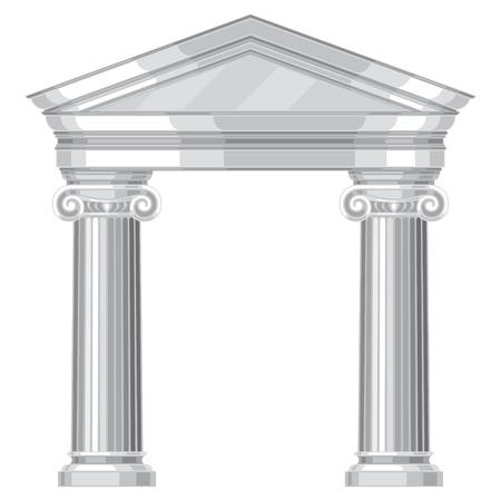 離子逼真的仿古希臘神廟的柱子 向量圖像