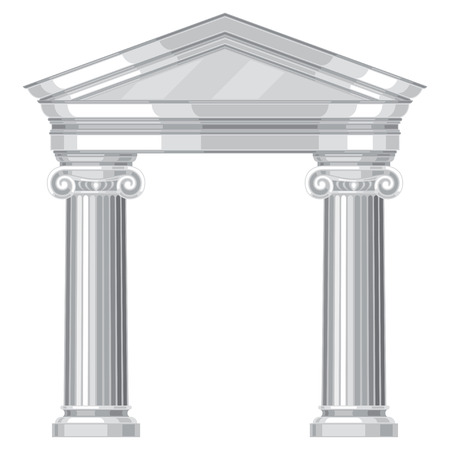 arte greca: Ionico realistico un antico tempio greco con colonne Vettoriali
