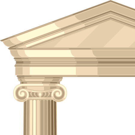 volute: Ionic realistic antique greek temple with columns