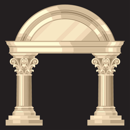 pillar: Corinthian realistic antique greek temple with columns Illustration