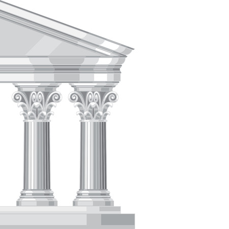 law and order: Corinthian realistic antique greek temple with columns Illustration