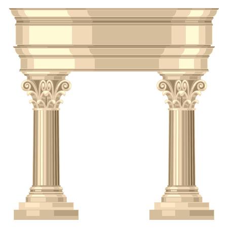 corinthian: Corinthian realistic antique greek temple with columns Illustration